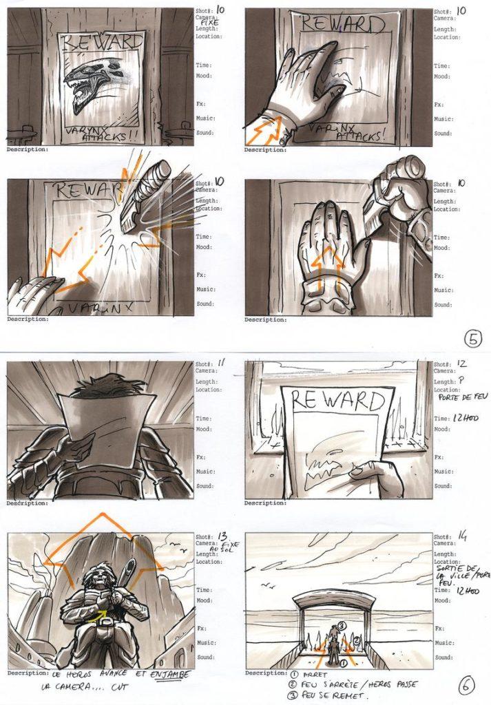 Storyboard avec des cuts